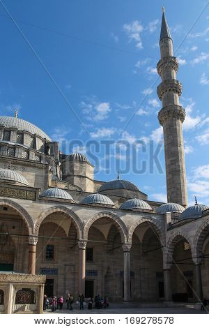 suleymaniye the magnificent mosque, courtyard and one minaret in istanbul, turkey.