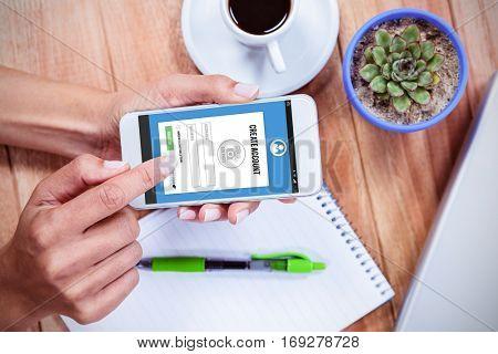 Telephone register application against overhead of feminine hands using smartphone