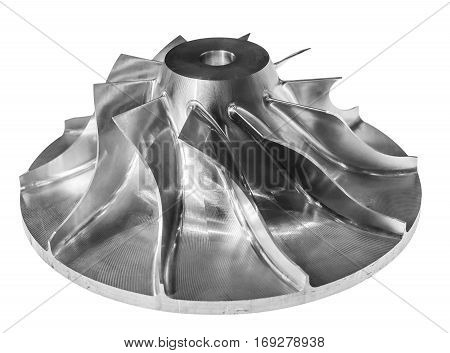 Air compressor rotor. High-precision metal. Isolated on white background. Small depth of field
