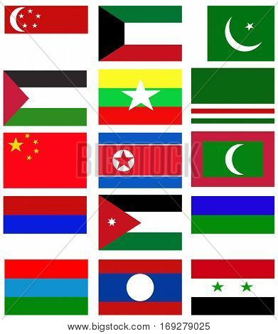 Asia nation flag collection background. Asia nation flag