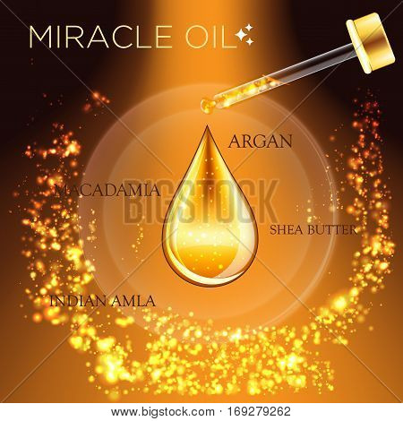 Miracle Oil Serum Essence 3D Droplet, Golden Cosmetics Ads Template