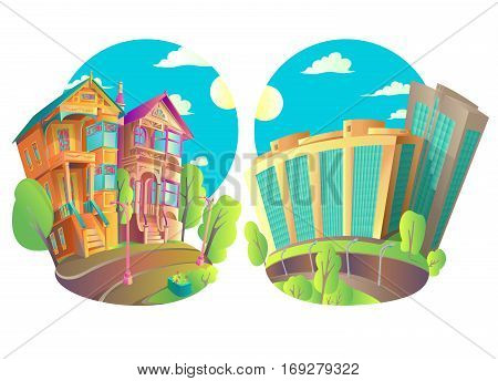 Vector illustration of buildings in the city and in the province or a small town. The old Victorian house and the new modern high-rise buildings. Bright Isolated Houses in cartoon style with a piece of street. Above the houses blue sky sun and clouds.