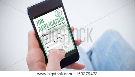 Woman using her mobile phone against job application