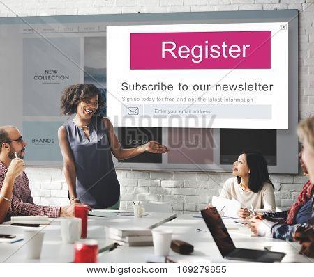 Join Us Register Newsletter Concept