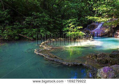 Erawan Waterfall in summer after the rain in Kanchanaburi Thailand