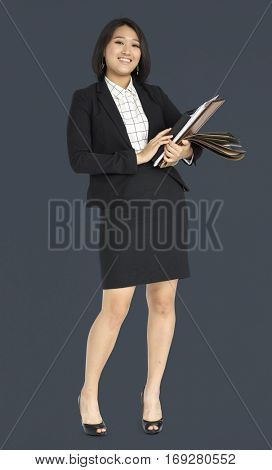 Young Asian Business Woman Holding Documents
