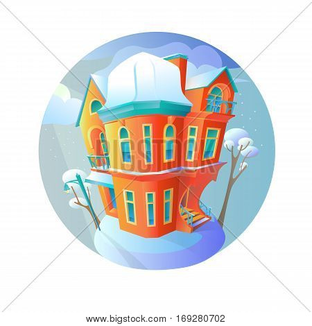 Bright vector house in the winter-time evening. Cottage in a Victorian style. A home with a balcony a porch and a shop with a showcase and a canopy. Round emblem