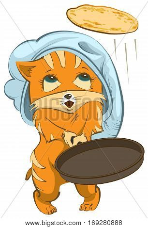 Red cat Chef tosses pancake up. Isolated on white vector cartoon illustration
