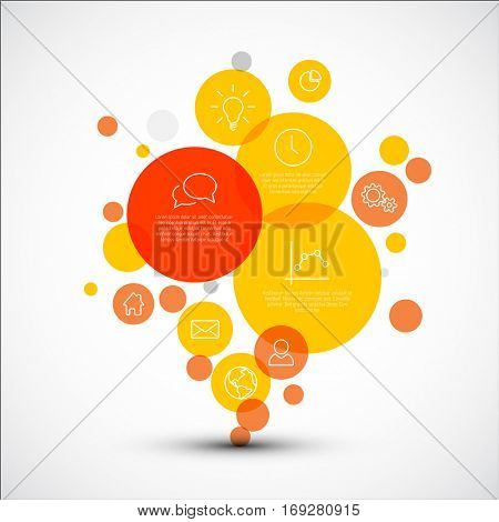 Vector diagram with various descriptive circles - infographic template made from red and yellow circles of various sizes and thin line icons