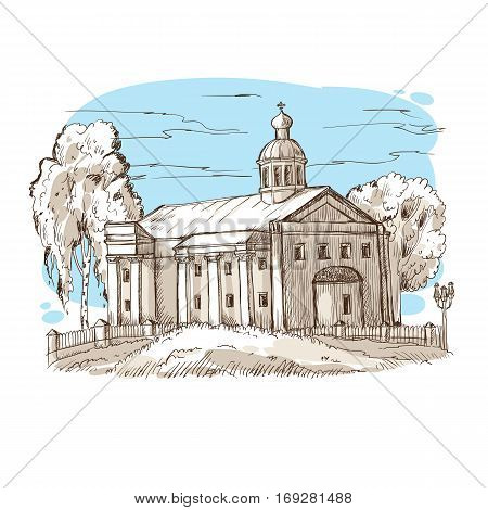 sketch Russian Orthodox church with a dome and columns among the trees against the blue sky