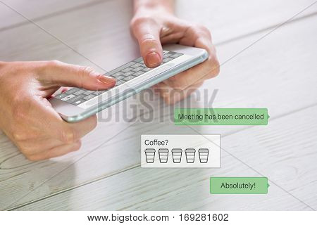 Woman using smartphone against smartphone text messaging