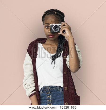 African Descent Girl Holding Camera