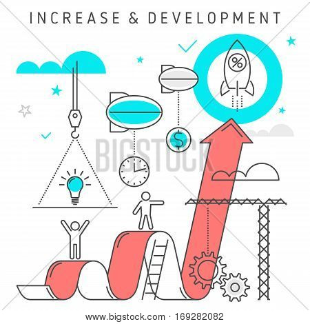 Conceptual vector flat line illustration represent process of business development from idea to profit. Creative workflow of investing time ideas technologies solutions knowledge to make money.