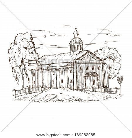 sketch Russian Orthodox church with a dome and columns among the trees