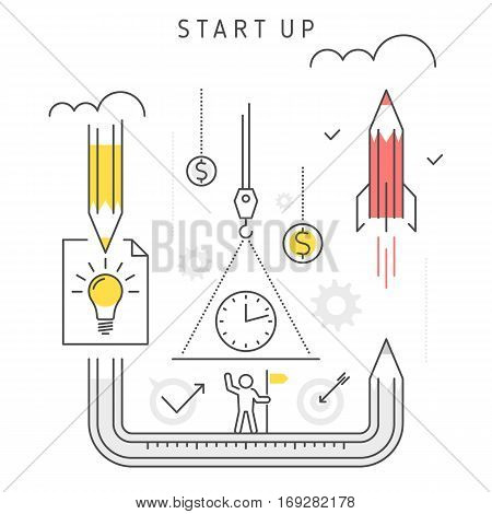 Vector flat line illustration of start up business represent growth concept development process from idea investing time technologies to launch company. Start up company and innovation concept.