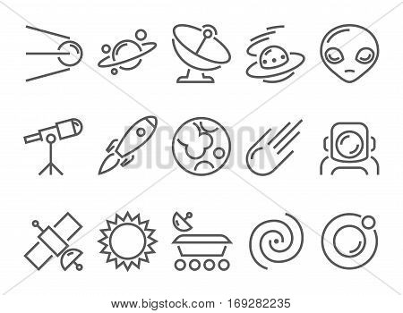 space cosmos and astronomy thin line flat icons set with universe satellite sputnik rocket astronaut pictogram