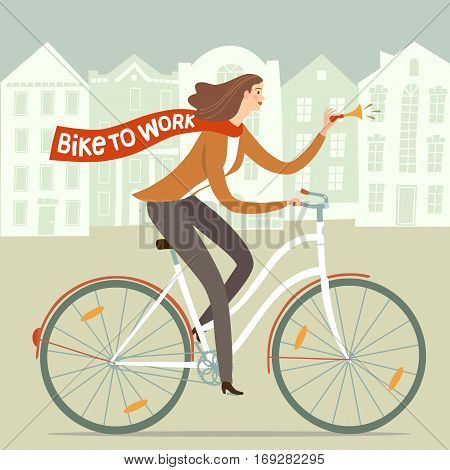 City style lady worker with scarf riding on a bicycle. Bike to work poster. Including european cityscape background. Hand drawn cartoon illustration.