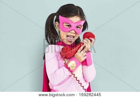 Superhero Girl With Telephone Concept