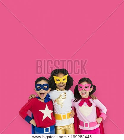 Superhero Kid Smiling Friendship Togetherness