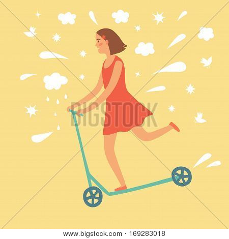 Happy cartoon girl riding kick scooter. Including decorative elements such as clouds stars splash birds. Childish illustration for your design.
