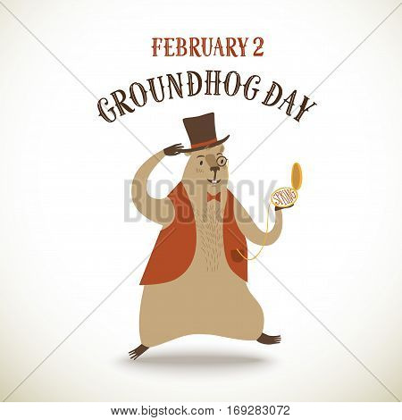 Cartoon groundhog running with clock wearing hat. Groundhog Day poster with title for your design.