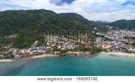 Beautiful aerial view of Patong beach over city, mountains and sky backround in Phuket, Thailand