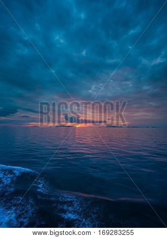 Colorful beautiful evening sunset above the sea in Thailand