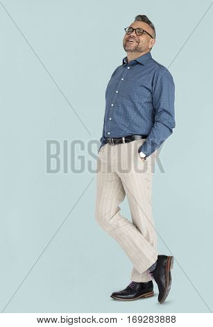 Caucasian Man Posing Cheerful