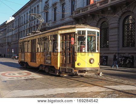 Vintage Tram In Milan