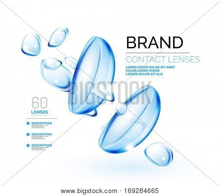 Vector eye contacts lenses ad template, packaging and product ads design, concept isolated on white