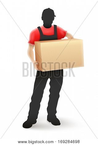 Delivery service man postman silhouette in black uniform holding cardboard box parcel hands. Isolated white background. Rasterized illustration