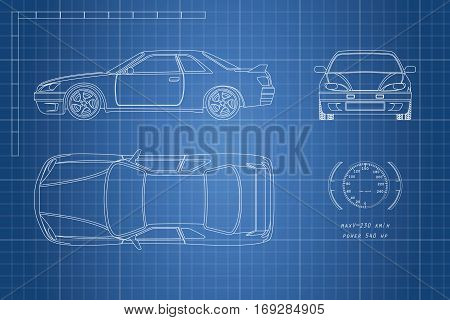 Drawing of the car on a blue background. Top front and side view. The blueprint of vehicle. Vector illustration