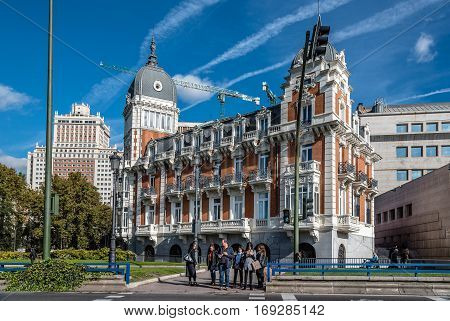 Madrid Spain - November 13 2016: Bailen Street Spain Square and Spanish Senate in Madrid. Located in Madrid city Center near Royal Palace