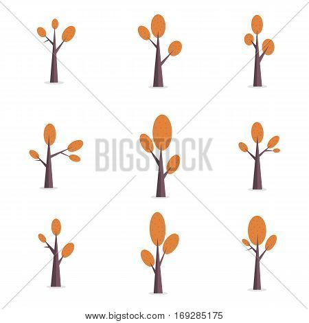 Tree set of vector illustration collection stock