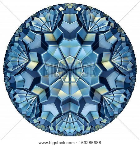 blue colored hyperbolic tessellation computer generated on white