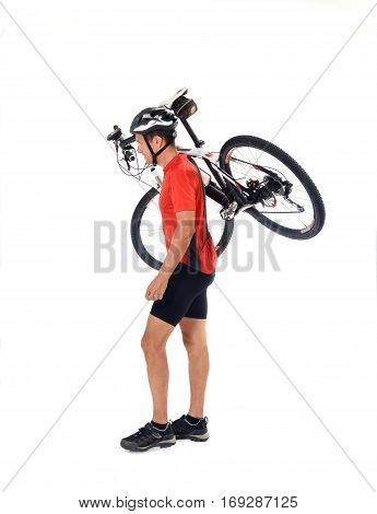 A cycler carring a mountain bike on white background