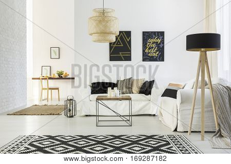 White Home Interior With Sofa