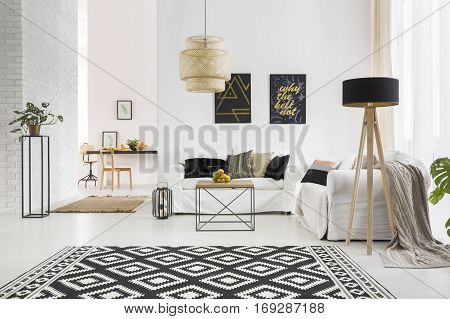 Apartment With White Brick Wall