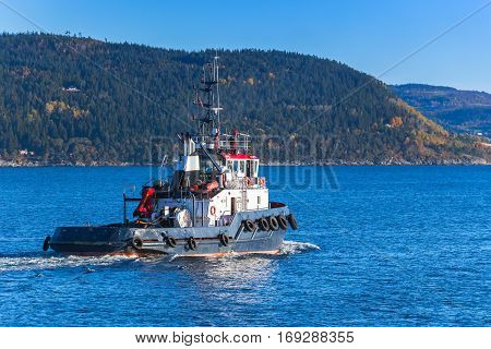 Blue Tug Boat In Norway