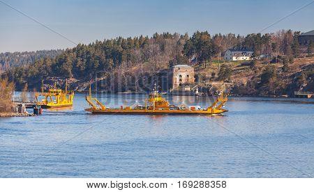 Yellow Ro-ro Ferry In Sweden