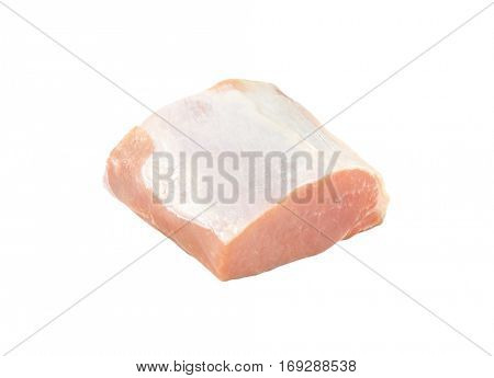 Piece of fresh pork loin on white background