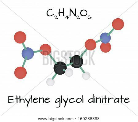 molecule Ethylene glycol dinitrate C2H4N2O6 isolated on white