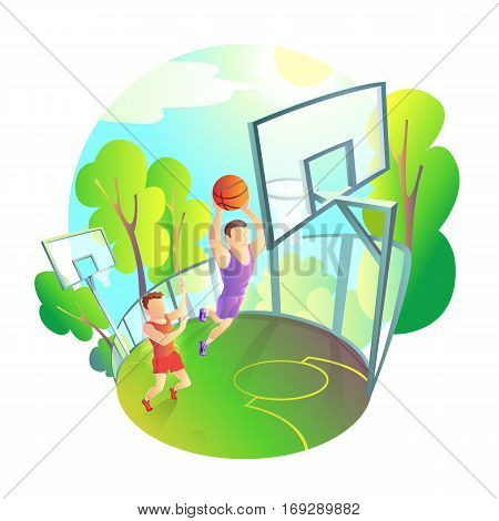 man in sportswear playing basketball on outdoor playground. Athlete actively throwing the ball in the basket
