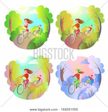 Young girl and the guy on a bike ride in the park. Activity outdoor sports. Riding bicycle at any time of the year - spring summer autumn winter