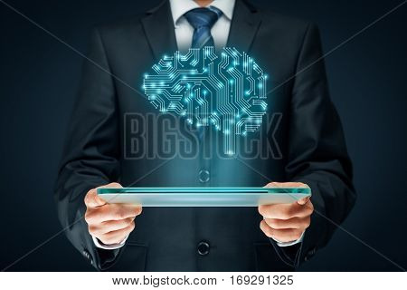 Artificial intelligence (AI), data mining, expert system software, machine learning, deep learning and another modern computer technologies concepts. Brain representing artificial intelligence with printed circuit board (PC