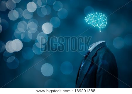 Artificial intelligence (AI), machine learning, deep learning, neural networks and another modern computer technologies concepts. Brain representing artificial intelligence with printed circuit board (PC