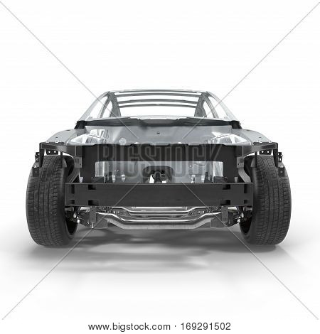 Skeleton of a car on white background. Front view. 3D illustration