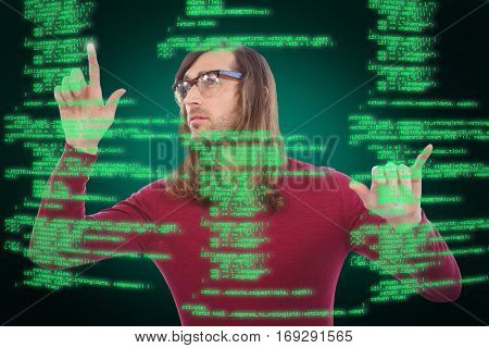 Creative businessman gesturing in office against green background with vignette