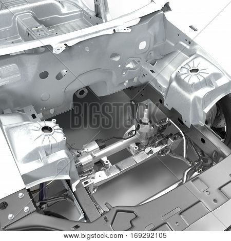 Carcass af a sedan car with Chassis on white background. 3D illustration