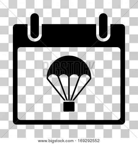 Parachute Calendar Day icon. Vector illustration style is flat iconic symbol black color transparent background. Designed for web and software interfaces.
